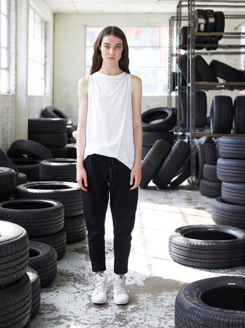 Sustainable fashion everyday basic slouch harem pant made in Melbourne by Midnight The Label. Ethical clothing.