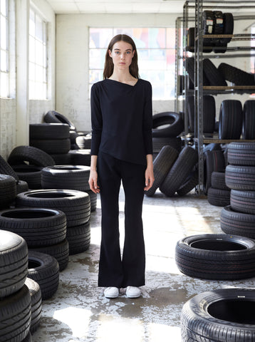 Sustainable fashion everyday basic winter flare pant made in Melbourne by Midnight The Label. Ethical clothing.