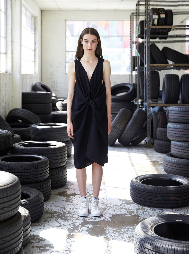 Sustainable fashion luxury wrap knot dress made in Melbourne by Midnight The Label. Ethical clothing.