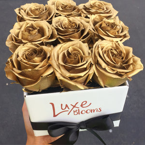 Square Fresh Gold Rose Box - Luxe Blooms