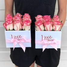 Square Fresh Pink Rose Box - Luxe Blooms