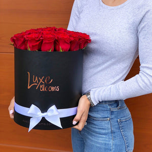 Round Fresh Red Rose Box - Luxe Blooms
