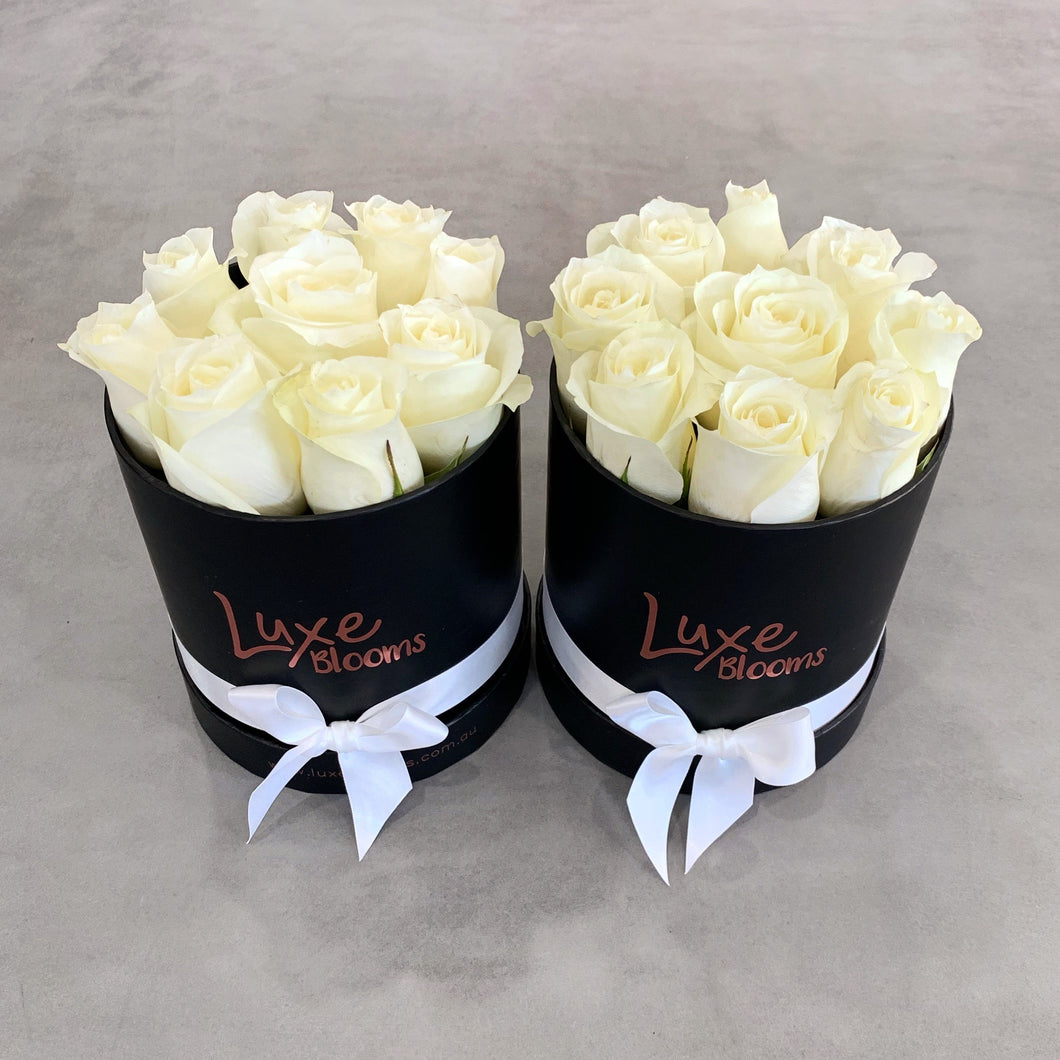 Round Fresh White Rose Box - Luxe Blooms