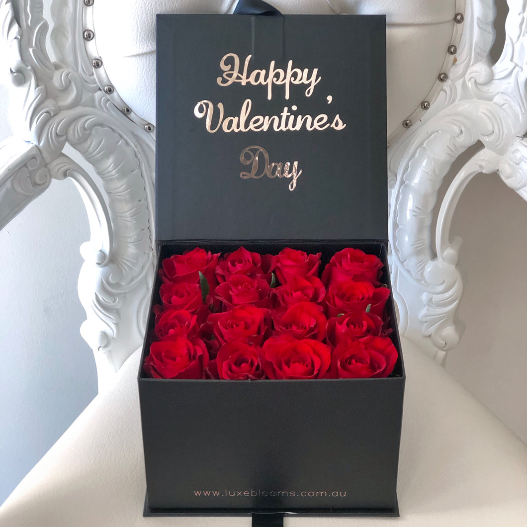 ADELAIDE: Gift Box of 16 Fresh Roses - Luxe Blooms