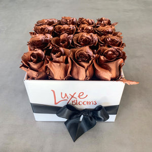 Square Fresh Copper Rose Box - Luxe Blooms
