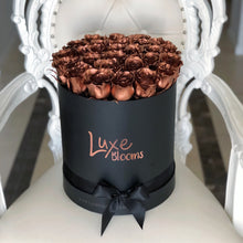 Round Fresh Copper Rose Box - Luxe Blooms