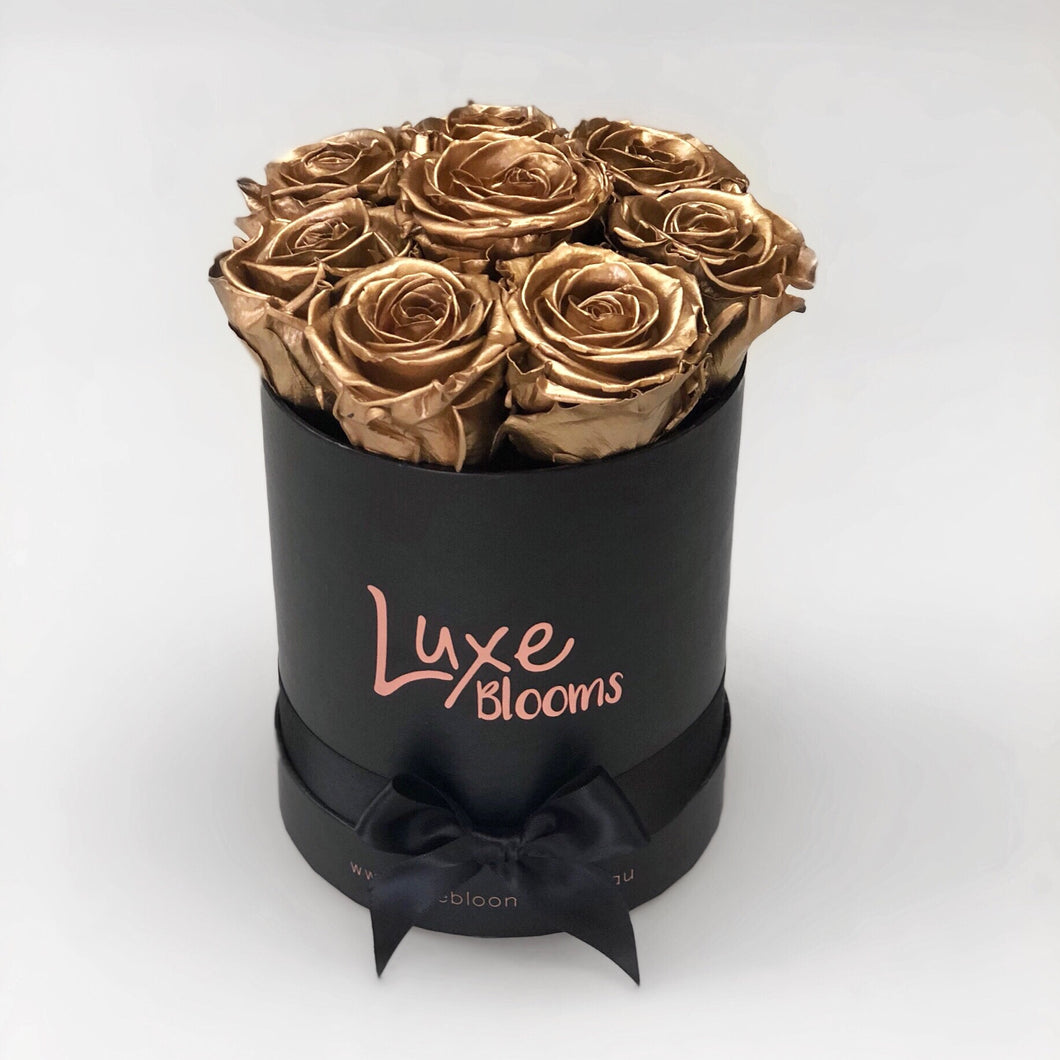 Preserved Gold Rose Box - Luxe Blooms