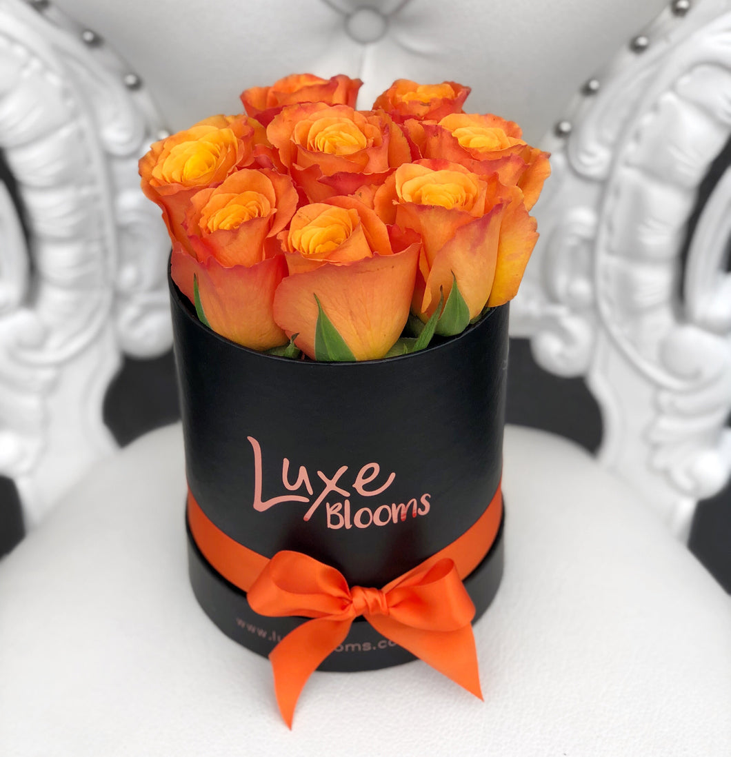 Round Fresh Orange Rose Box - Luxe Blooms