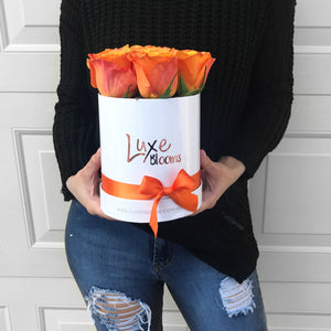 LUXE Fresh Orange Rose Box - Luxe Blooms