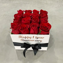 Square Fresh Red Rose Box