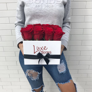 Square Fresh Red Rose Box - Luxe Blooms