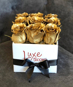 Square Gold Rose Box - Luxe Blooms