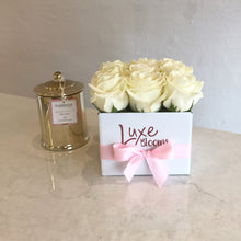 Square Fresh White Rose Box - Luxe Blooms