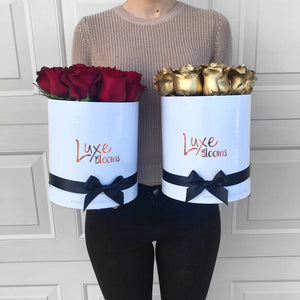 Round Fresh Gold Rose Box - Luxe Blooms