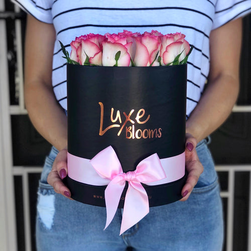 LUXE Fresh Pink Rose Box - Luxe Blooms