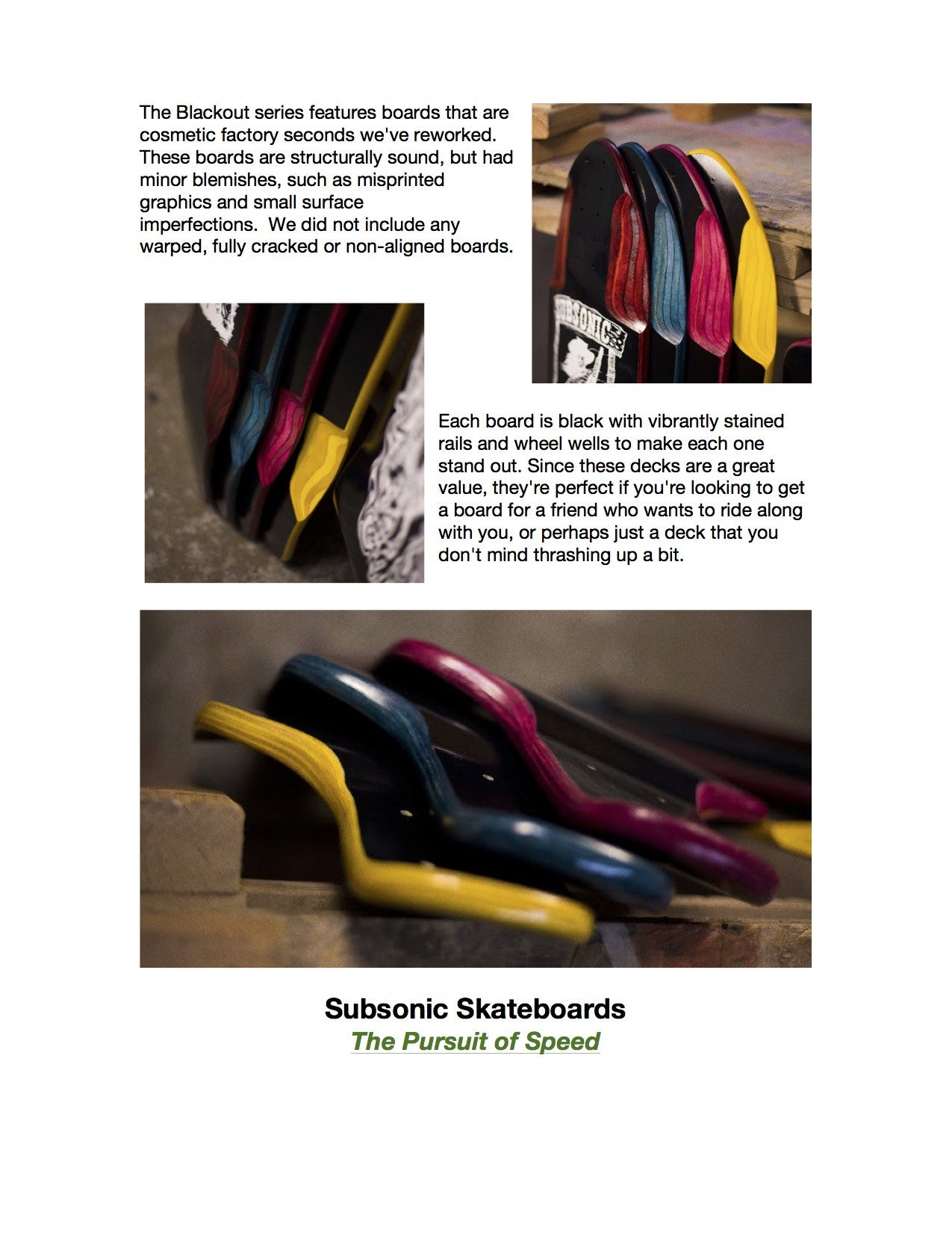 Subsonic Skateboards Blackout Series longboards