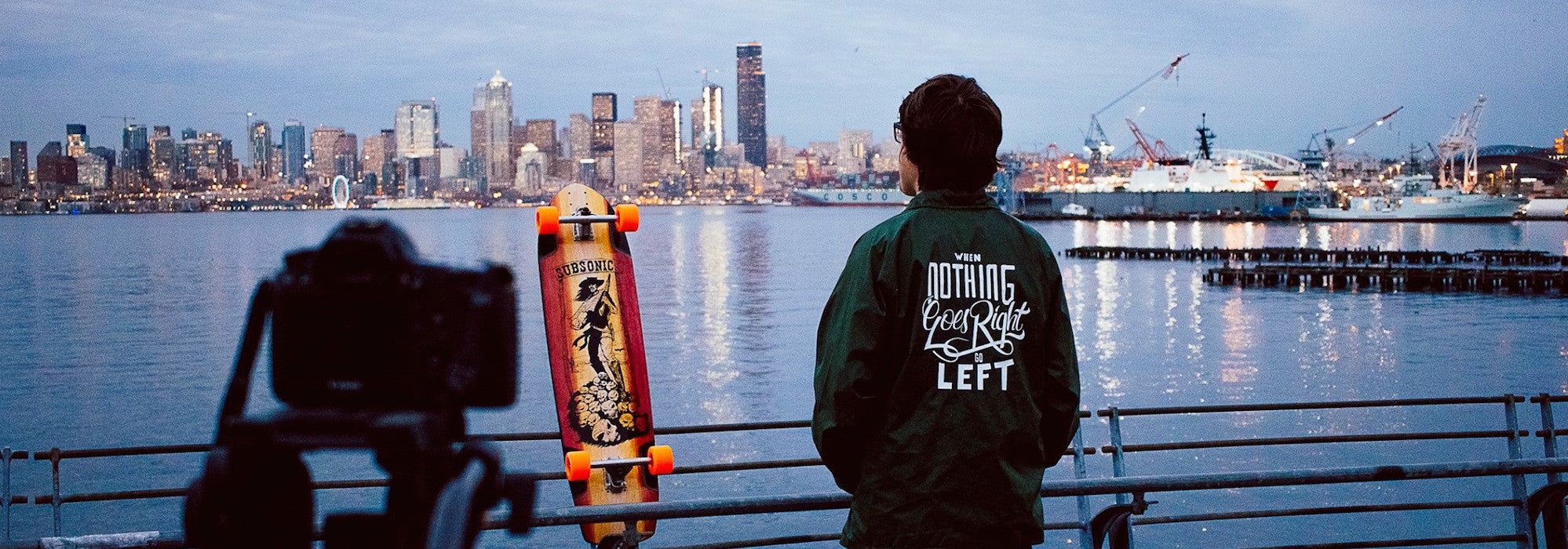 Subsonic Skateboards Shadow Seattle skyline