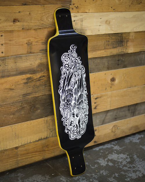 SOLD // Yellow Talon 37 Blackout Longboard Deck