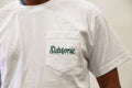 Subsonic Skateboards white tee with close-up of pocket logo