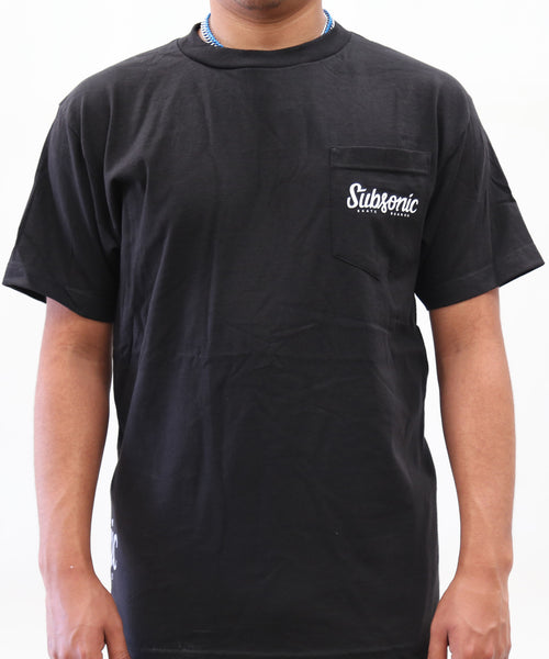 Subsonic Skateboards black tee with logo on pocket and hip