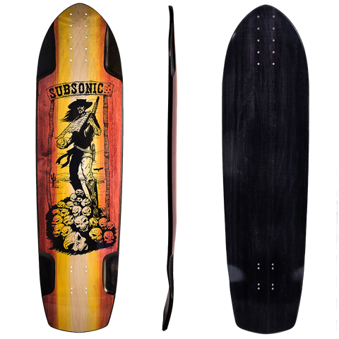 Subsonic Skateboards Shadow longboard bottom profile top