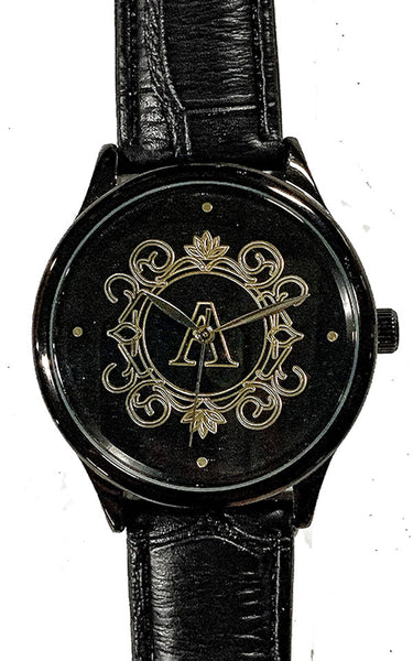 Personalize Customize Watch Mens Ladies Monogram Engraved Black Leather Strap Black Case