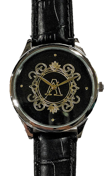 Personalize Customize Watch Mens Ladies Monogram Engraved Black Leather Strap Silver Case