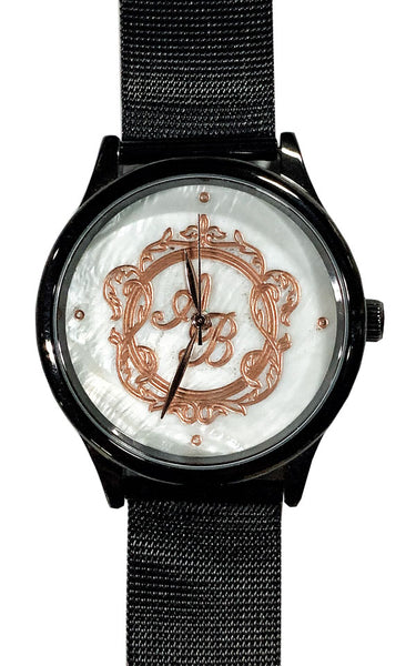 Personalize Customize Watch Mens Ladies Monogram Engraved Black Mesh Strap