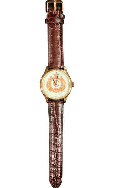 Personalize Customize Watch Mens Ladies Monogram Engraved Brown Leather Strap