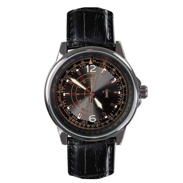The Trooper Watch in Black Leather Strap