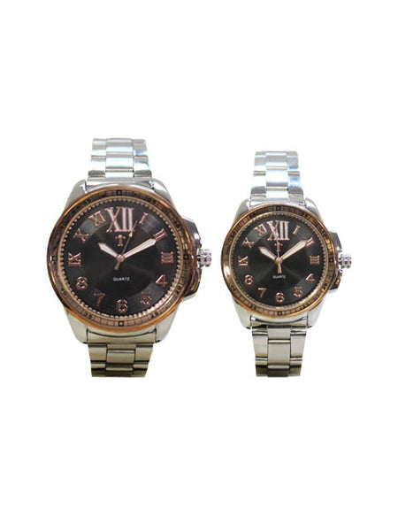 HIS & HERS watch set in Black and Silver