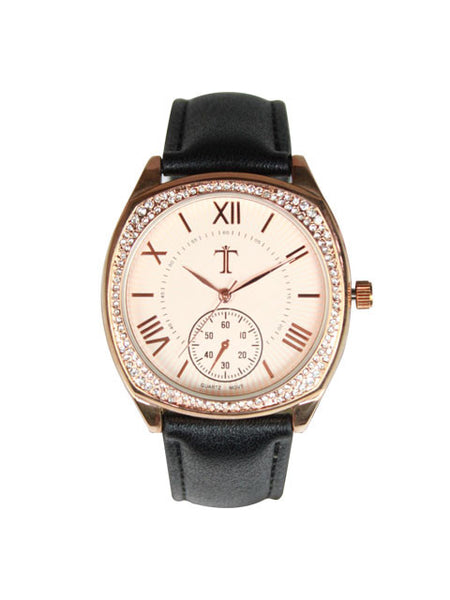 Leather Watch for Women in Black