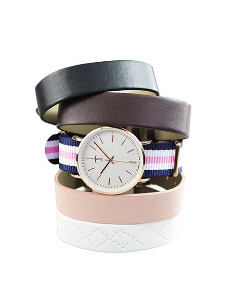 5-pc Strap Watch in Rose Gold for Women