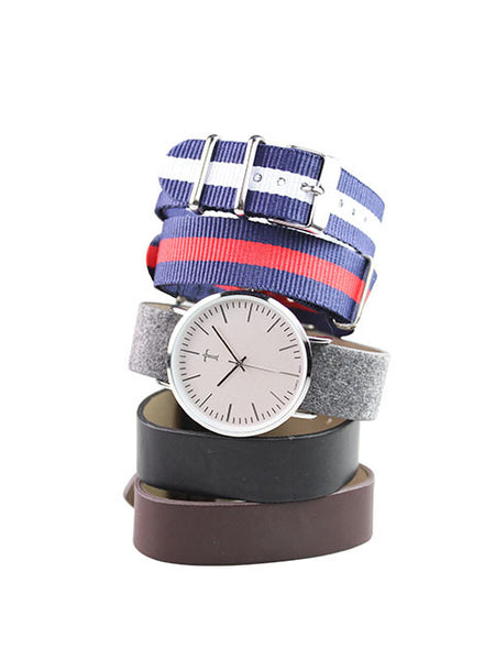 5-pc Strap Watch in Silver for Men