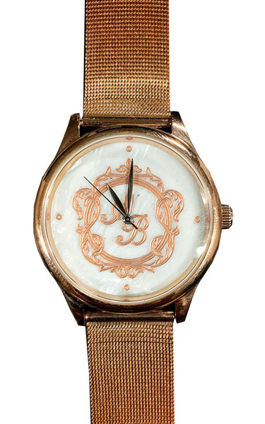 Personalize Customize Watch Mens Ladies Monogram Engraved Rose Gold Mesh Strap