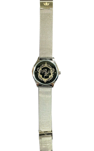 Personalize Customize Watch Mens Ladies Monogram Engraved Silver Mesh Strap