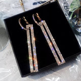 Bling Rectangle Dangle Earrings