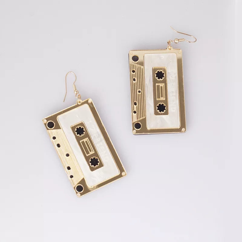 Gold Cassette Tape Earrings