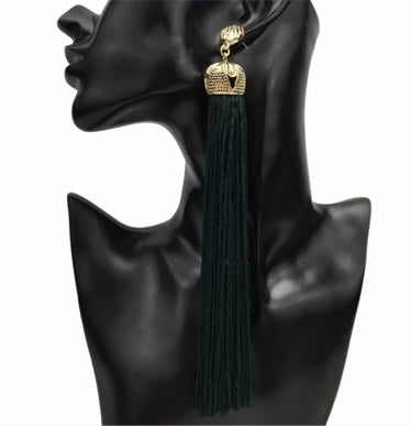 Long Black Tassell Earrings