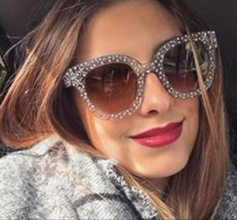Rhinestone Black Oversized Sunglasses