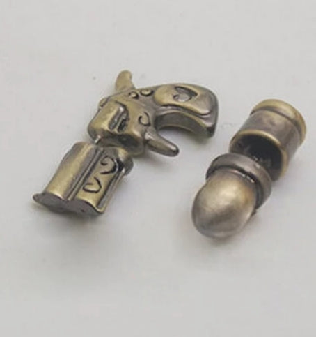 Firearm and Bullet Bronze Earrings