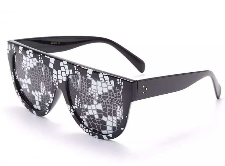 Python Pattern Black and White Sunglasses