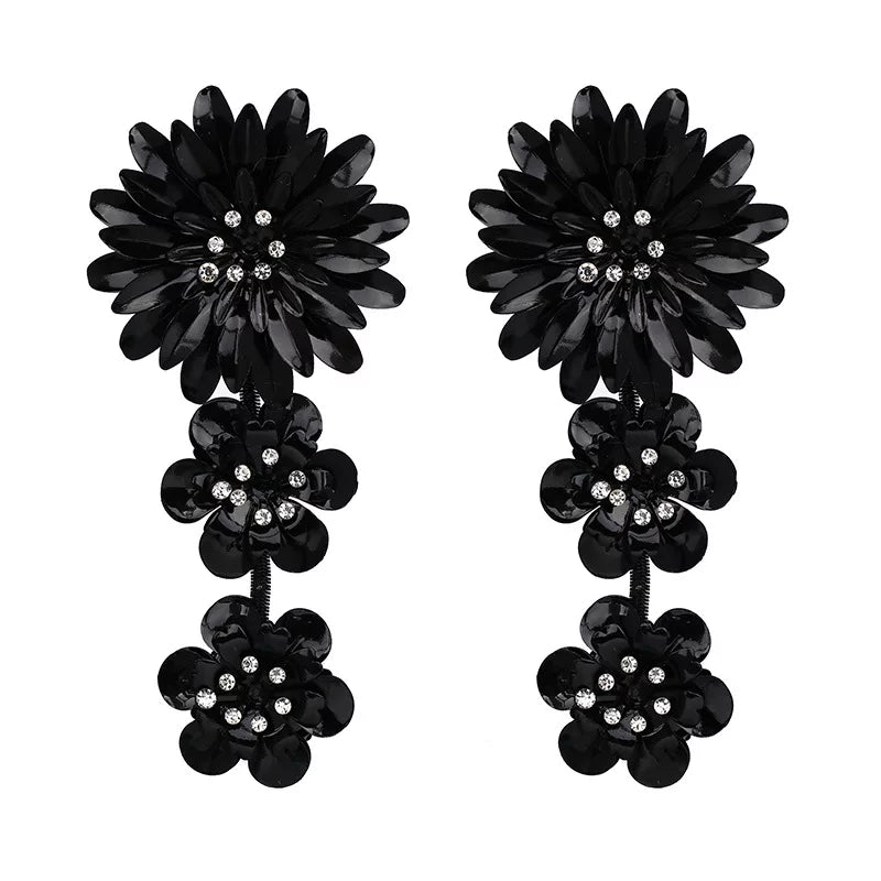 Chunky Black Flower Dangle Earrings