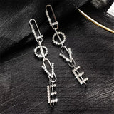 Silver Tone LOVE Dangle Earrings