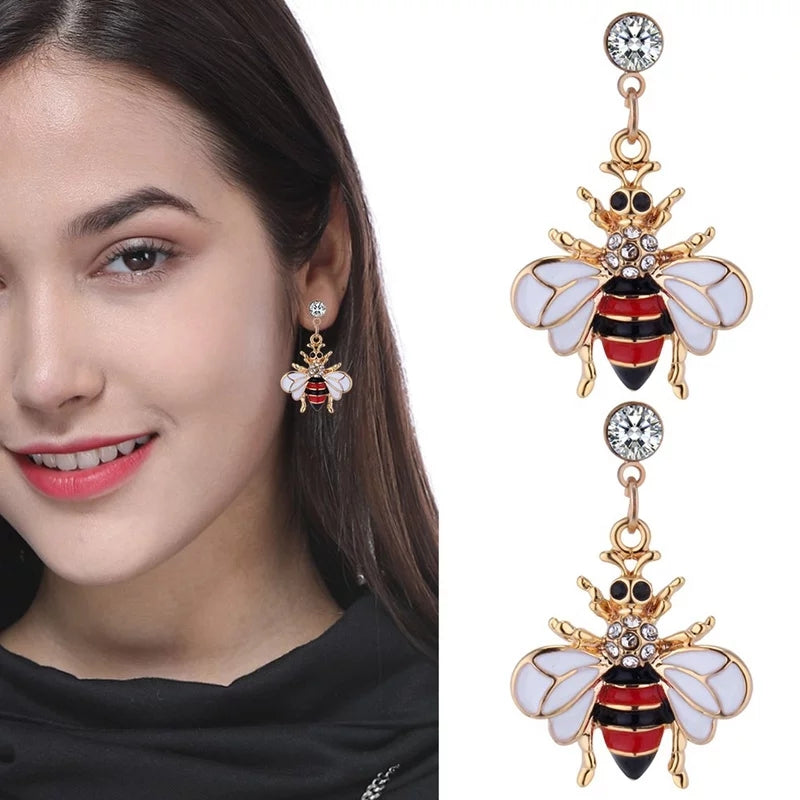 Red Fly Bling Dangle Earrings