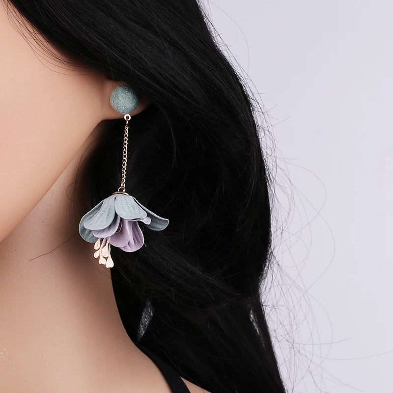 Unique Blue Flower Dangle Earrings