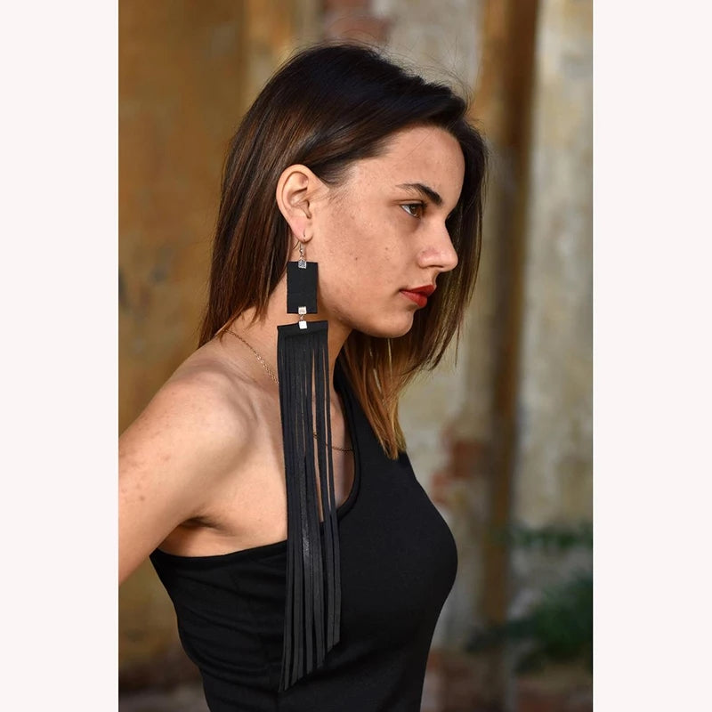 Faux Leather Extra Long Black Earrings
