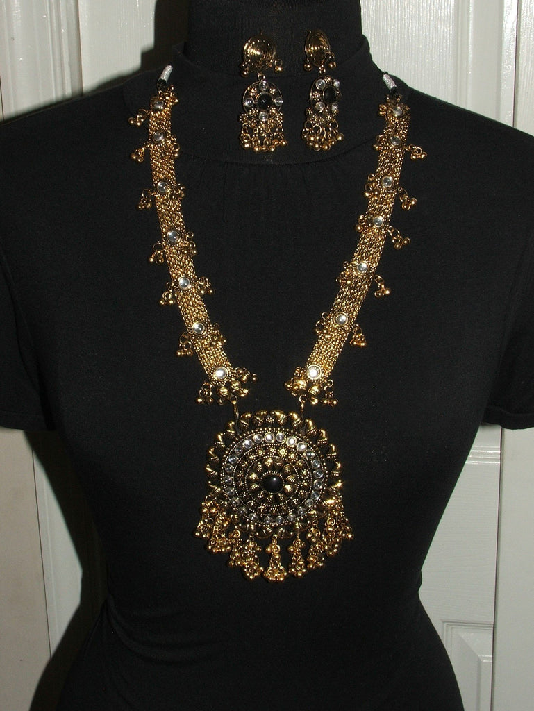 Ethnic Gold Tone Necklace Set