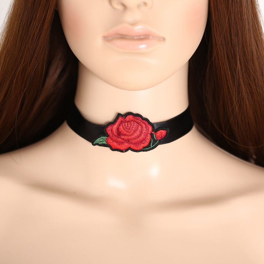 Black and Red Flower Choker Necklace