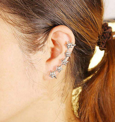 Large Green Crystal Ear Cuff